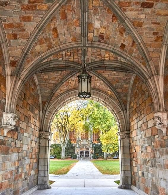 Stone arches on the entrance to the Law Quad