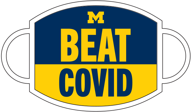 "Mask with ""Beat COVID"" printed on the front"