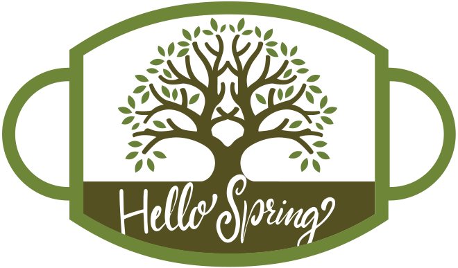 "Mask with budding tree and ""Hello Spring"" in script"