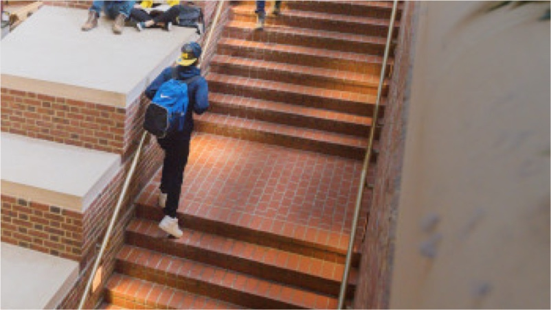 Student walking up a set of stairs